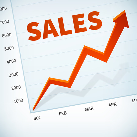 width: positive business sales chart width red arrow vector background