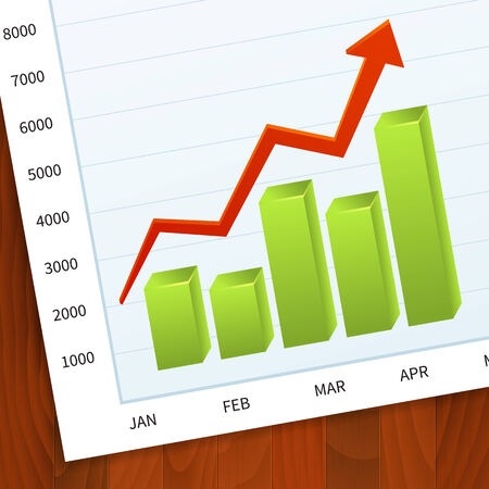 Positive business sales graph on wood vector background. layered. Vector