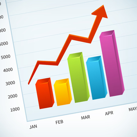 grow up: upward business sales chart vector background