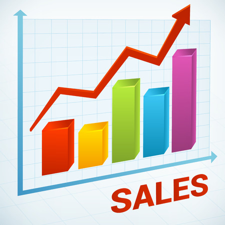 Positive business sales chart vector icon background