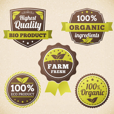 set organic vector eco label. isolated form background. Vector