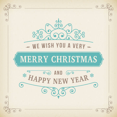 merry christmas vintage curl paper background. vector greeting card.