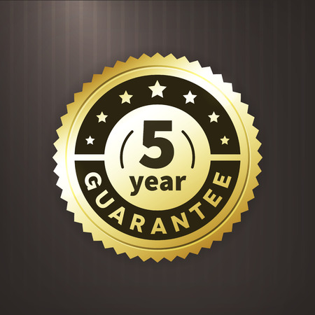 first rate: 5 year guarantee business gold vector label. isollated from background.