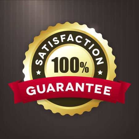 satisfaction guaranteed: satisfaction guaratee gold vector label Isolated from background. Illustration