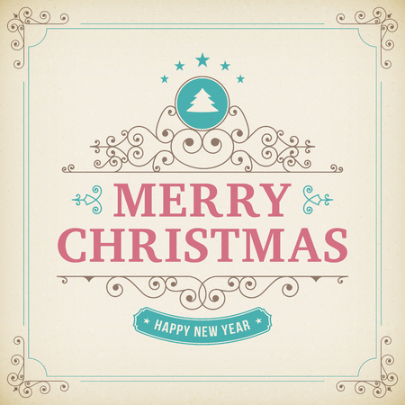 merry christmas vintage ornament on paper background.  Vector