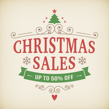 christmas shopper: vintage after christmas sales poster vector background. layered.