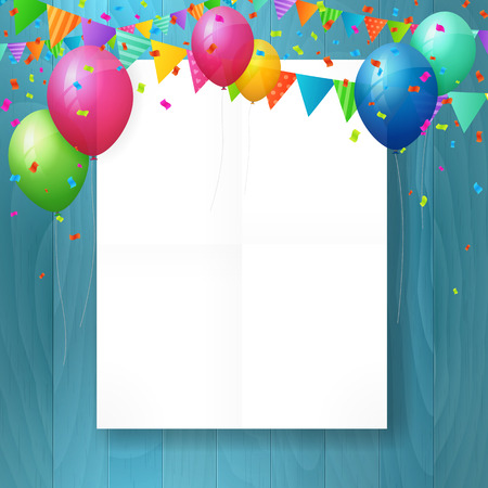 party background: empty happy birthday greeting card with balloons and flags on wood background.