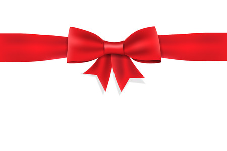 red  ribbon: Red satin ribbon bow on white background. isolated. Illustration