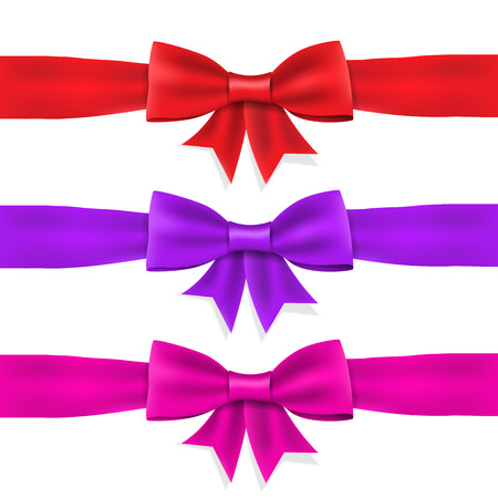 Set red violet pink satin ribbon bow on white background. isolated. Vector