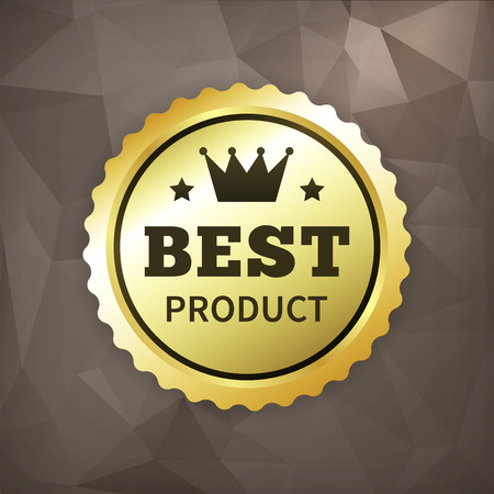 crumple: best product business gold vector label on crumple paper. isolated from background.
