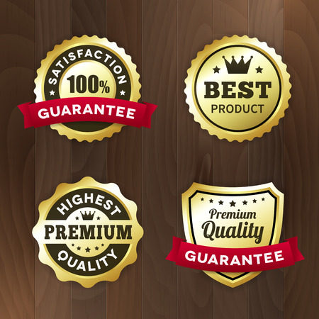 first rate: set business gold label on wood vector background. isolated from background. best product  premium quality tag