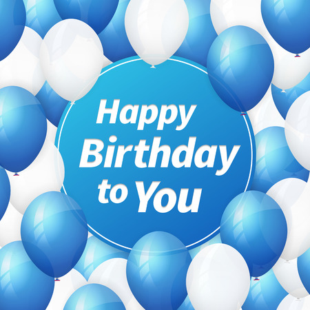 beam with joy: Happy birthday greeting card background with white and blueballoons.