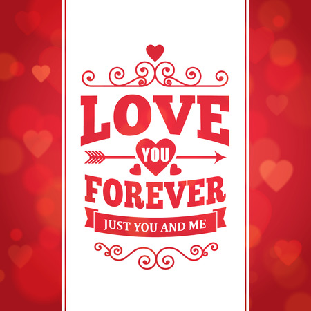 Love you forever typography greeting card background poster vector design.