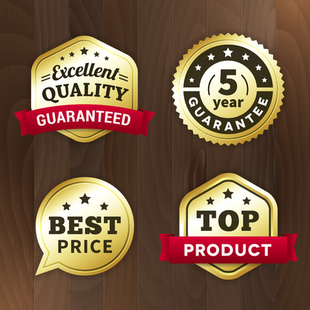 set business gold label on wood vector background. isolated from background. top product / excelent quality / best price tag  イラスト・ベクター素材