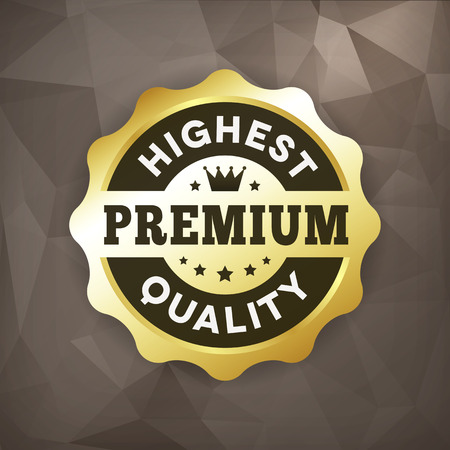highest: highest premium quality business gold vector label on crumple paper. isolated from background.