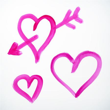 vector brush stroke handdrawn hearts with arrow. isolated. Vector