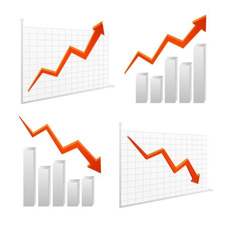 upward graph: set vector chart graph icon positive, negative infographic, layered.
