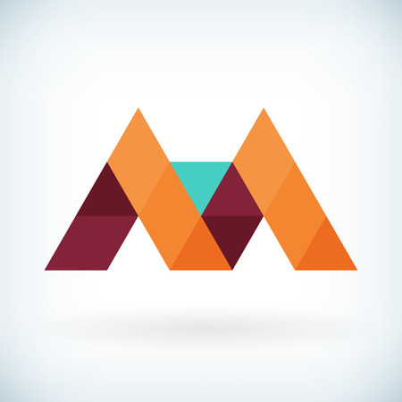 papier lettre: Moderne lettre M ic�ne design plat �l�ment mod�le. isol�.