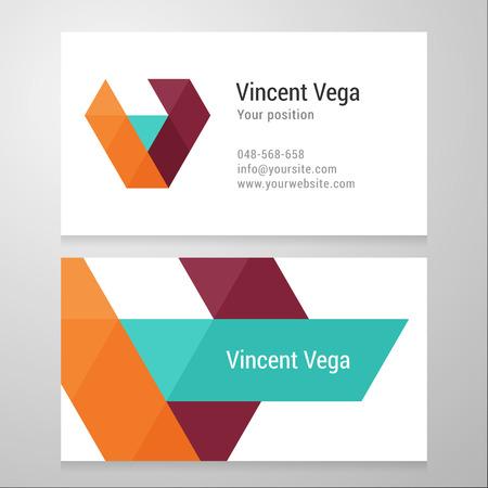 v alphabet: Modern letter V Business card template. Vector design. Layered, editable. Illustration
