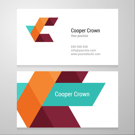 Modern letter C Business card template. Vector design. Layered, editable. Vectores