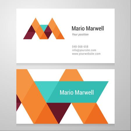 Moderne letter M Adreskaartjesjabloon. Vector ontwerp. Gelaagd, bewerkbaar. Stock Illustratie