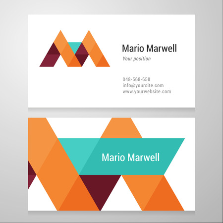 Modern letter M Business card template. Vector design. Layered, editable. Vectores