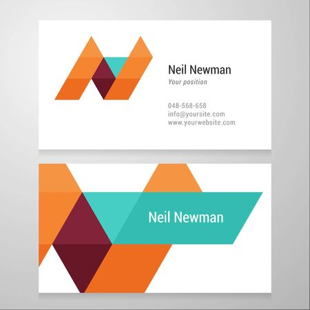 Modern letter N Business card template. Vector design. Layered, editable.