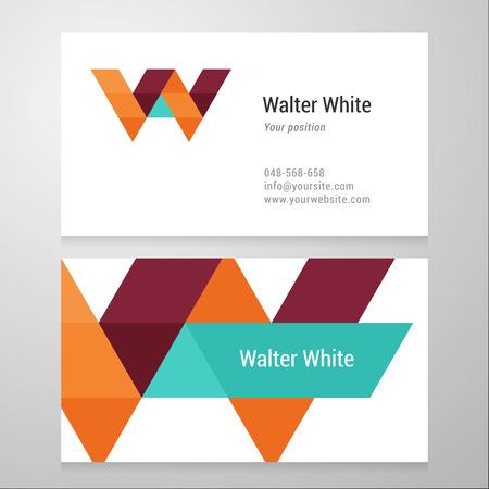 logos restaurantes: Carta Moderno W plantilla de tarjeta de visita. Dise�o vectorial. Capas, editable. Vectores