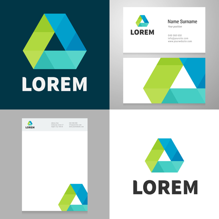 Design icon element with Business card and paper template. Layered, editable. Vector