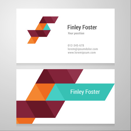 letter f: Modern letter F Business card template. Vector design. Layered, editable.