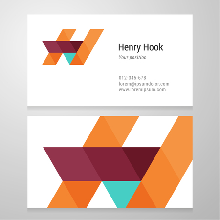 letter h: Modern letter H Business card template. Vector design. Layered, editable.