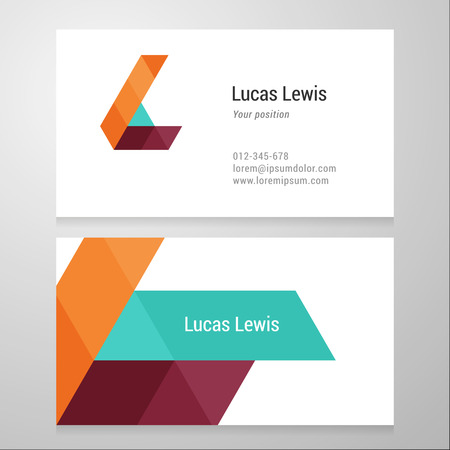 lettre alphabet: Moderne lettre L mod�le de carte de visite. Vector design. Layered, modifiable.