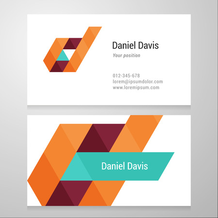 Modern letter D Business card template. Vector design. Layered, editable.