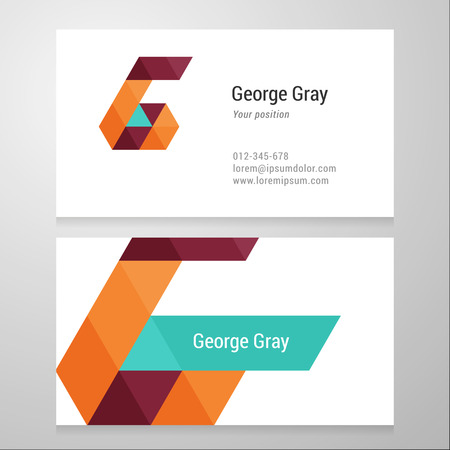 Modern letter G Business card template. Vector design. Layered, editable.