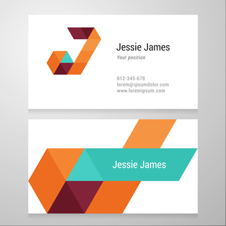 Modern letter J Business card template. Vector design. Layered, editable.