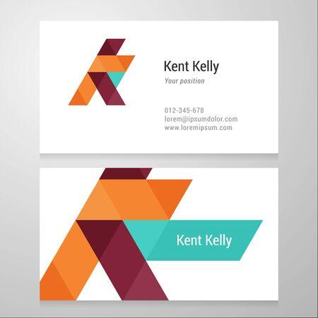 Modern letter K Business card template. Vector design. Layered, editable. Vector