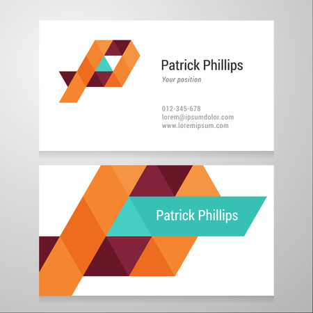 Modern letter P Business card template. Vector design. Layered, editable.