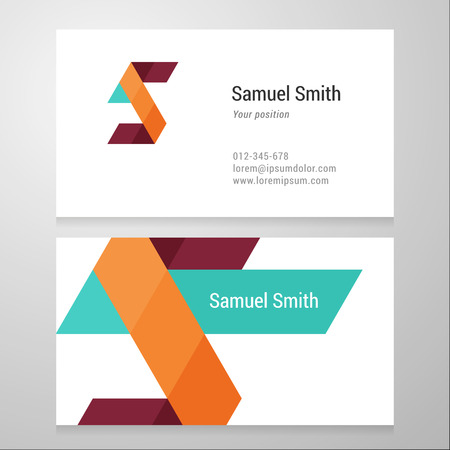 Modern letter S Business card template. Vector design. Layered, editable.