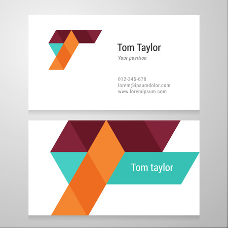 Modern letter T Business card template. Vector design. Layered, editable.