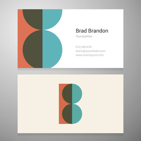 Modern letter B icon business card template. Vector design. Layered editable.