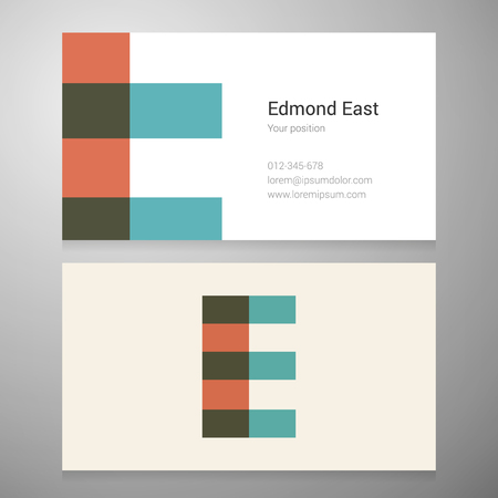 e card: Modern letter E icon business card template. Vector design. Layered editable. Illustration