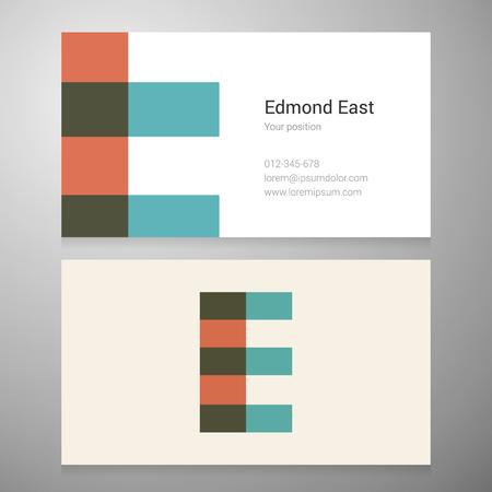 identidad personal: Plantilla moderna tarjeta de icono empresarial letra E. Dise�o del vector. Capas editable.