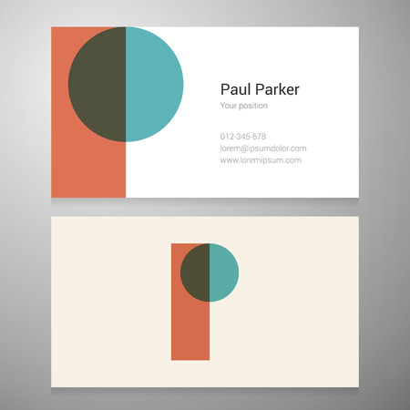 Modern letter P icon business card template. Vector design. Layered editable.