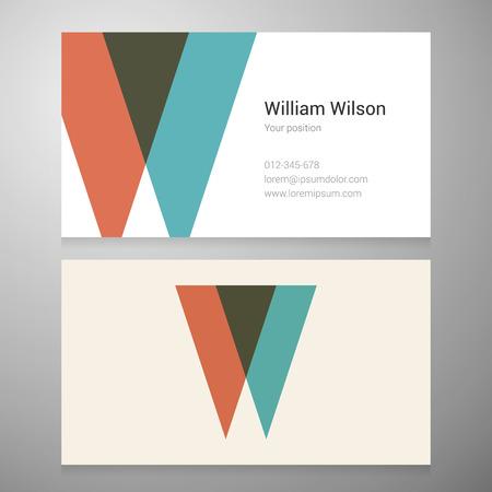 Modern letter W pictogram adreskaartjesjabloon. Vector design. Gelaagde bewerkbaar.