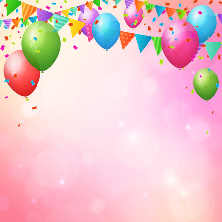Happy birthday background poster with balloons and flags. layered