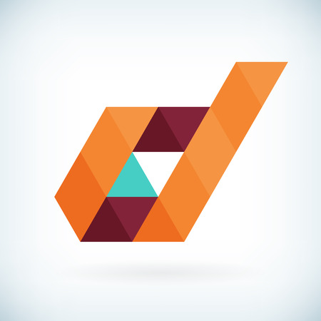 papier a lettre: Moderne lettre D ic�ne design plat �l�ment mod�le. isol�. Illustration
