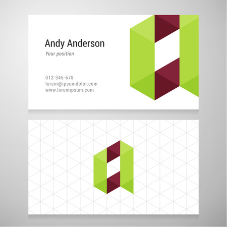 business letter: Modern letter A origami Business card template. Vector design. Layered editable.