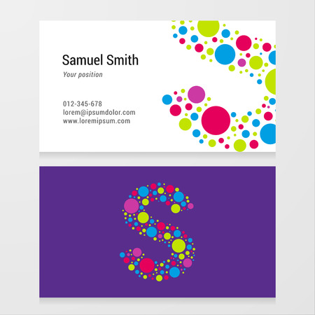 children s art: Modern letter S circle colorful Business card template. Vector design. Layered editable. Illustration