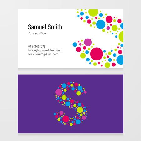 lettre s: Moderne lettre S cercle coloré modèle de carte de visite. Vector design. Layered modifiable. Illustration