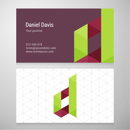 identification card: Modern letter D origami Business card template. Vector design. Layered editable.